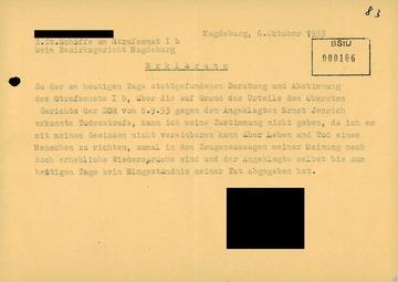 Erklärung eines Schöffen zum verordneten Todesurteil gegen Ernst Jennrich