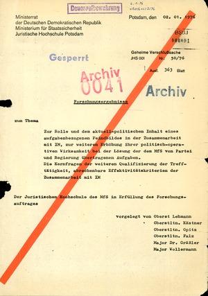 """Dissertation """"Zur Rolle und dem aktuell-politischen Inhalt eines aufgabenbezogenen Feindbildes in der Zusammenarbeit mit IM"""""""