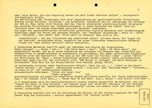Auflistung schriftlicher Proteste im Januar 1989