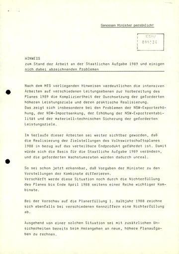 """""""Zum Stand der Arbeit an der Staatlichen Aufgabe 1989 und einigen sich dabei abzeichnenden Problemen"""""""