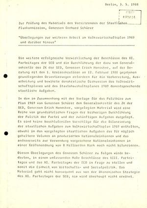 Zur Prüfung des Materials des SPK-Vorsitzenden Gerhard Schürer zum Volkswirtschaftsplan 1989 durch Günter Mittag