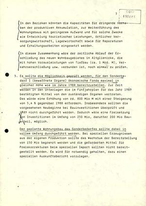 Schreiben Gerhard Schürers an Erich Honecker mit Überlegungen zum Volkswirtschaftsplan 1989