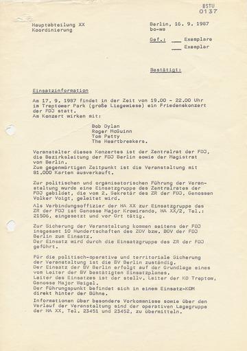 """Erste """"Information"""" der Stasi über das Friedenskonzert der FDJ mit Bob Dylan in Ost-Berlin"""