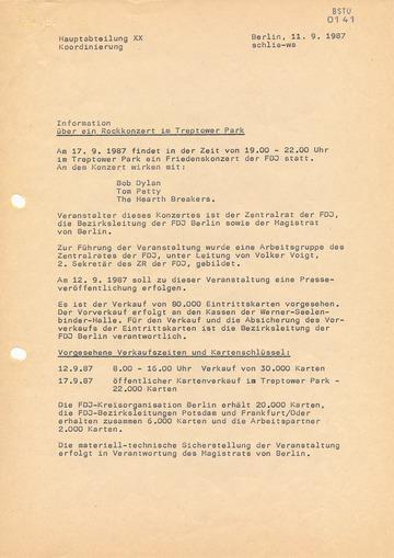 """""""Information"""" der Hauptabteilung XX über das Konzert von Bob Dylan in Ost-Berlin"""