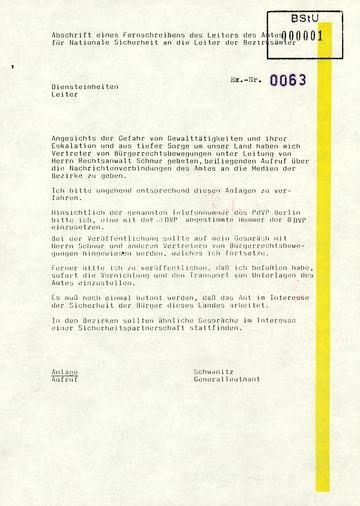 Fernschreiben von Schwanitz an die Leiter der Bezirksämter mit der Bitte den Anweisungen der Bürgerrechtsvertretung zu folgen