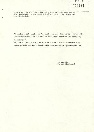 Fernschreiben von Schwanitz an die Leiter der Bezirks- und Kreisämter zum sofortigen Stopp der Aktenvernichtung