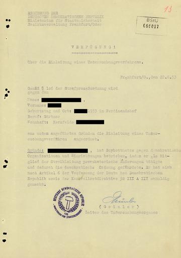 Haftbefehl des Kreisgerichts Frankfurt (Oder) gegen einen am Volksaufstand beteiligten Arbeiter