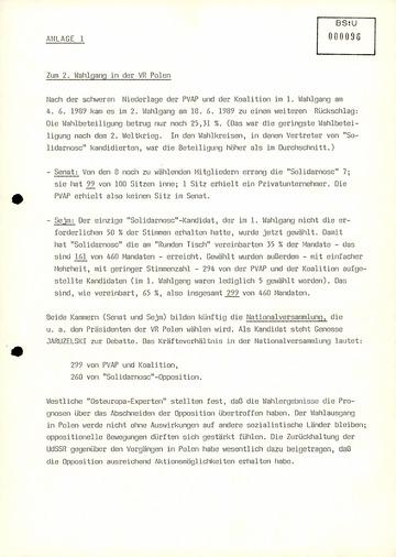 Zum zweiten Wahlgang in Polen am 18. Juni 1989