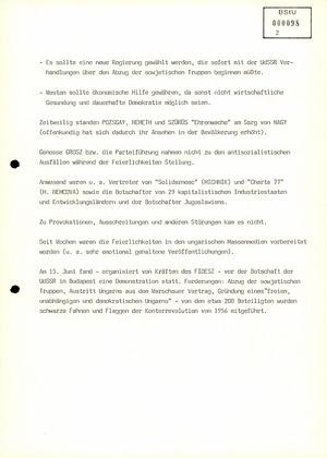 Bericht über die Trauerfeier für Imre Nagy in Budapest