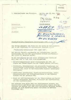 """Abschlußbericht """"Olympische Sommerspiele 1972 in der BRD"""""""