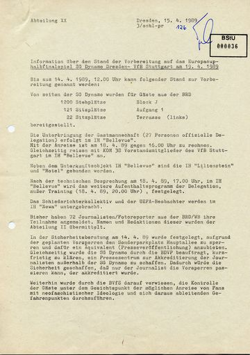 Bericht über Vorbereitung auf das Europapokal-Halbfinalspiel Dresden gegen Stuttgart am 19. April 1989