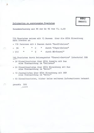Information über anreisende Touristen zum Europacup-Halbfinale in Dresden am 19. April 1989