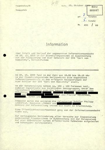Bericht zu einer Informationsandacht in der Zionskirche