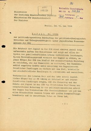 Befehl 11/66 zur Bekämpfung von unangepassten Jugendlichen