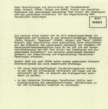"""Hinweise zum geplanten """"Mißbrauch"""" des SED –SPD-Grundlagenpapiers durch DDR-Oppositionelle"""