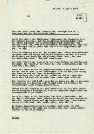 Zur Reduzierung der Bezugszahlen von DDR-Zeitungen durch die Sowjetunion