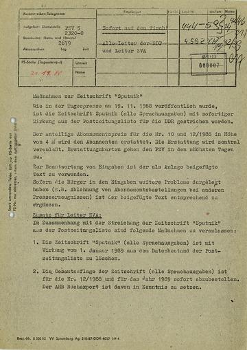 """Maßnahmen des Postzeitungsvertriebs zur Zeitschrift """"Sputnik"""""""