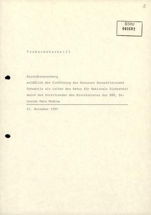 Dienstbesprechung zur Einführung von Wolfgang Schwanitz als Leiter des Amtes für Nationale Sicherheit