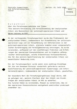 """Gutachten zur Dissertation """"Die weitere Entwicklung und Vervollkommnung der analytischen Arbeit als Bestandteil der politisch-operativen Arbeit und deren Leitung im MfS"""""""