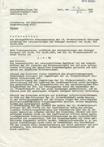 Information zum Einsatz der Volkspolizei-Bereitschaft auf dem Wasunger Karneval 1988