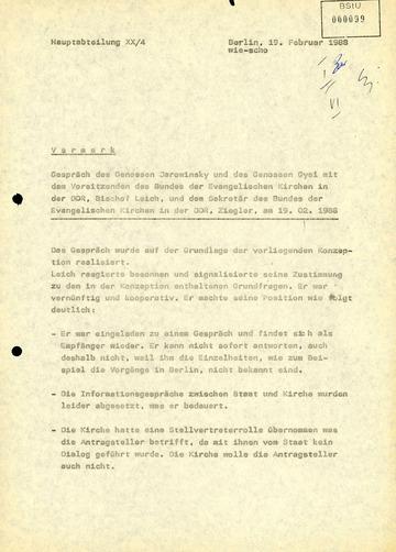 Vermerk über ein Gespräch zwischen Landesbischof Werner Leich und Politbüromitglied Werner Jarowinsky bzw. Klaus Gysi