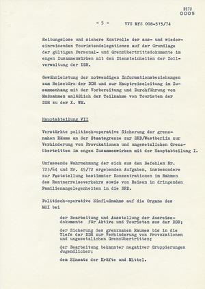"""Befehl Nr. 11/74 zur """"Absicherung"""" der Fußball-Weltmeisterschaft 1974"""