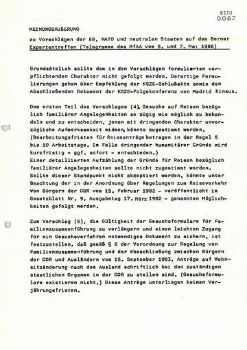 Empfehlungen des MfS zur Vorbereitung des KSZE-Expertentreffens über menschliche Kontakte in Bern