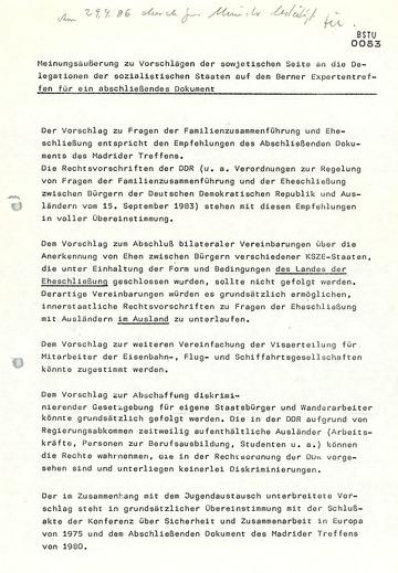 Vorbereitung des KSZE-Expertentreffens über menschliche Kontakte in Bern