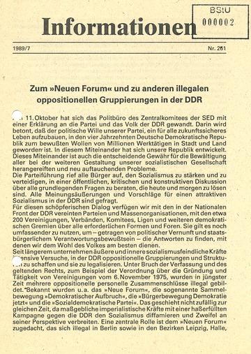 """Informationen zum """"Neuen Forum"""" und zu anderen illegalen Gruppierungen"""
