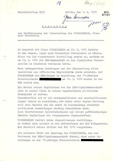 Vorschlag zur Übersiedlung von Klaus Tuchscherer nach Österreich