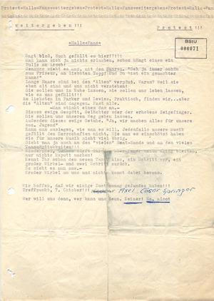 Flugblatt mit Aufruf zum Treffen in Berlin