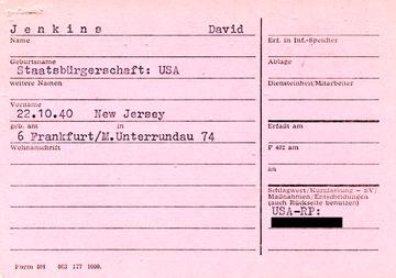 """Hinweiskartei zur """"Einreise von BRD-Bürgern im grenznahen Bereich"""" der Abteilung VI zu David Jenkins"""