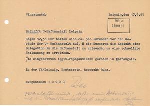 Lagemeldung zu den Vorkommnissen an der Untersuchungshaftanstalt in der Beethovenstraße in Leipzig