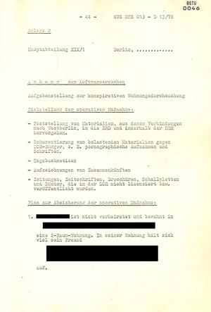 Arbeitsmaterial für die Vorbereitung, Durchführung und Auswertung von konspirativen Durchsuchungen