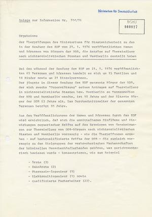 Information über westliche Menschenrechtsgruppen und ihre Kontakte zu DDR-Bürgern