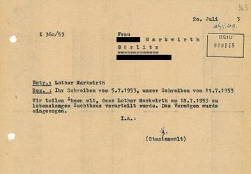 Mitteilung des Staatsanwalts an die Ehefrau von Lothar Markwirth