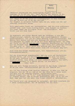 """Treffbericht mit IM """"Karl Walter"""" vom 10. September 1988"""