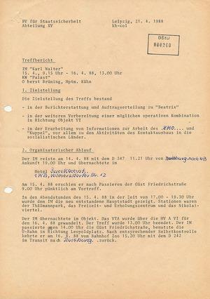 """Treffbericht mit IM """"Karl Walter"""" vom 21. April 1988"""