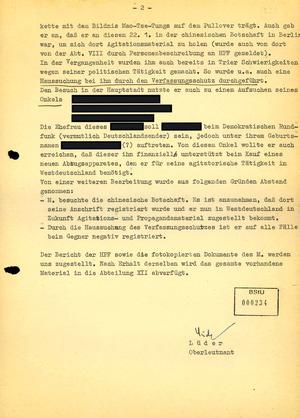 Bericht über die Einreise Till Meyers in die DDR