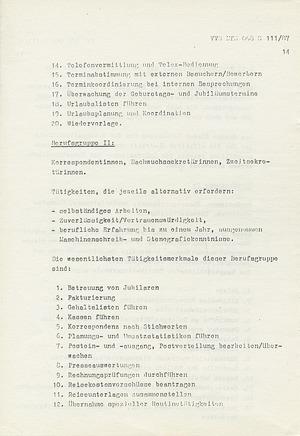 """Schulungsmaterial mit """"ausgewählten Erkenntnissen"""" über die """"Berufsgruppe der Sekretärinnen"""""""