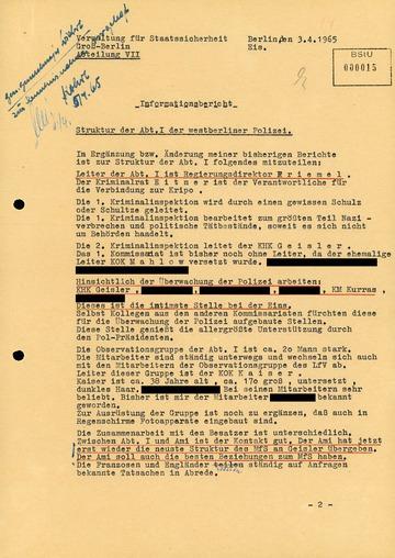 """Ergänzung zu einem """"Informationsbericht"""" von GM """"Otto Bohl"""" über die Struktur der Abteilung I der West-Berliner Kriminalpolizei"""