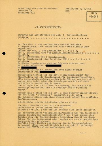 """""""Informationsbericht"""" von """"Otto Bohl"""" über die Struktur der Abteilung I"""