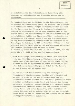 Maßnahmeplan zur Gewährleistung der Sicherheit zum 40. Jahrestag der DDR