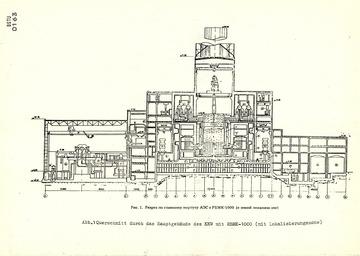 Querschnitt und technische Daten des havarierten Reaktors im Kernkraftwerk Tschernobyl