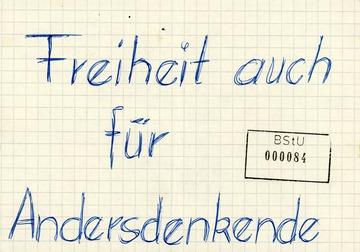 """Sichergestelltes Flugblatt """"Freiheit der Andersdenkenden"""""""