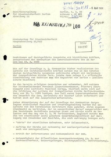 Bericht der BV Berlin über Reaktionen auf die Gespräche zwischen staatlichen und kirchlichen Gremien