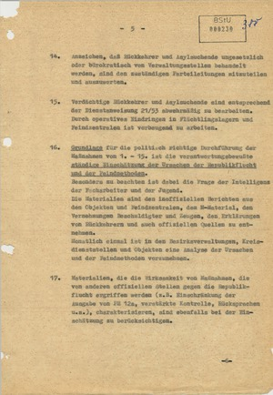 Dienstanweisung zur Bekämpfung der Republikflucht aus dem Jahr 1956