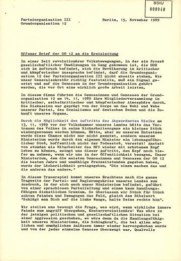 Offener Brief der Grundorganisation der Hauptabteilung III (Funkaufklärung) an die SED-Kreisleitung des MfS