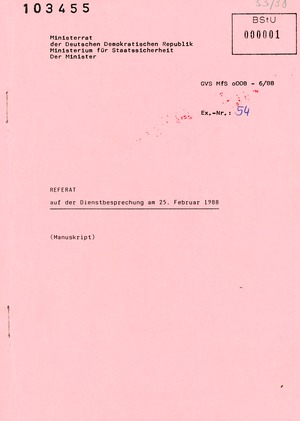 """Referat Erich Mielkes zur """"Übersiedlung"""" auf einer Dienstbesprechung"""