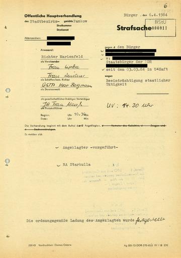 """Protokoll der Verhandlung gegen einen Bürger wegen """"Beeinträchtigung staatlicher Tätigkeit"""""""